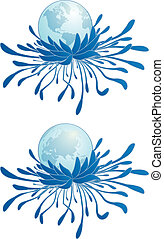 earth and chrysanthemum - abstract vector illustration of...