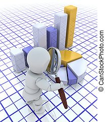 Looking at profits - 3D render of someone looking at a graph...