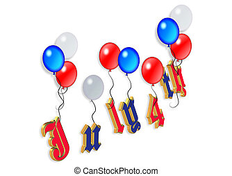 4th of July balloons - 3D Illustrated text and red white and...