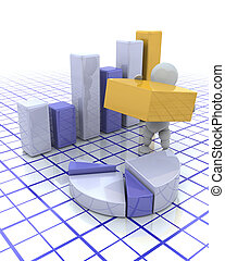 Building profits - 3D render of a man with graphs