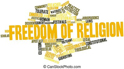 Freedom of religion - Abstract word cloud for Freedom of...