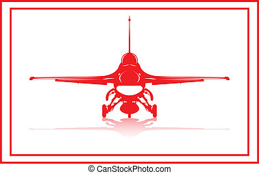 Fighter plane - A fighter plane in red silhouette