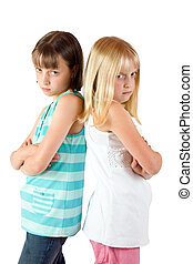 Two Angry Sisters - Two sisters back to back in a bad mood...