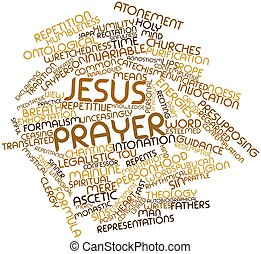 Jesus Prayer - Abstract word cloud for Jesus Prayer with...