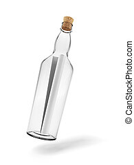 Glass bottle with note inside isolated on white background