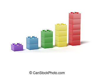Plastic building blocks as chart isolated on white...