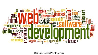 Web development concept in word tag cloud on white...
