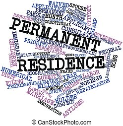 Permanent residence - Abstract word cloud for Permanent...