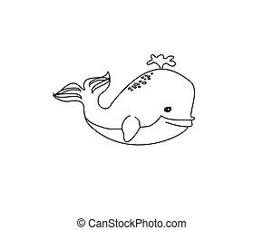Cute Whale - Vector