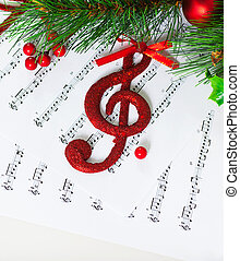 Christmas treble clef - Image of red festive treble clef on...
