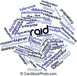 RAID - Abstract word cloud for RAID with related tags and...