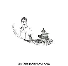 Samurai  in Asian Landscape - doodle vector illustration