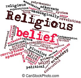 Religious belief - Abstract word cloud for Religious belief...