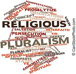 Religious pluralism - Abstract word cloud for Religious...