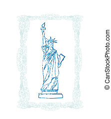 Statue of Liberty - doodle illustration