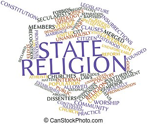 State religion - Abstract word cloud for State religion with...