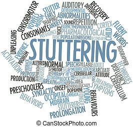 Stuttering - Abstract word cloud for Stuttering with related...