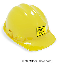 Safety helmet with safety sign - Safety helmet isolate with...