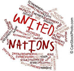 United Nations - Abstract word cloud for United Nations with...