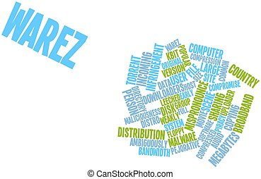 Warez - Abstract word cloud for Warez with related tags and...