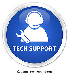 Tech Support icon blue button - Tech Support icon glossy...