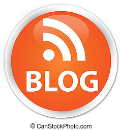 Blog rss news icon orange button - Blog rss news icon glossy...