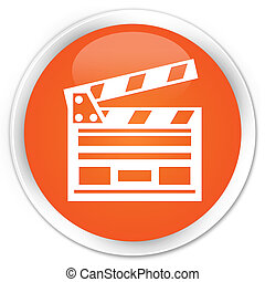 Cinema clip icon orange button - Cinema clip icon glossy...