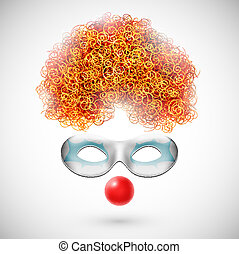 Accessories clown wig, mask and red nose Eps 10