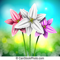 Natural background with lilies. Eps 10
