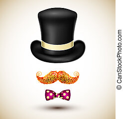 Accessories magician (hat, mustache and bow tie). Eps 10