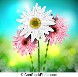Natural background with gerberas. Eps 10