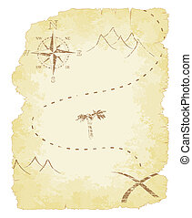 Treasure Map - Battered and faded old treasure map vector...