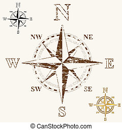 Faded Compass Rose - Faded compass rose, with gold, and...