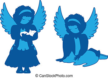 Cute angels silhouettes set. Caring for animals
