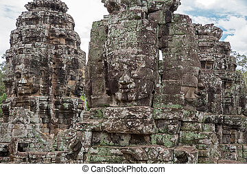 Bayon temple in cambodia, detailed view of faces