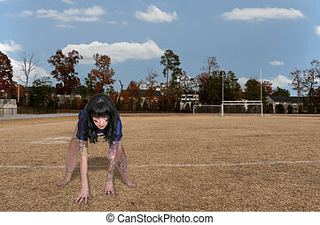 Woman Football Player - Beautiful young woman football...