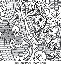 Seamless lacy pattern with flowers and butterflies.