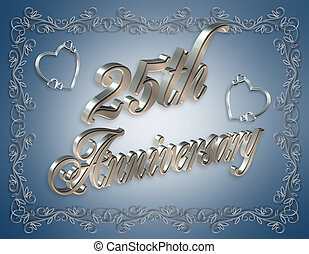 25th Anniversary Blue - Illustration composition 3D romantic...