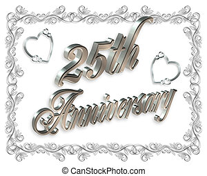 25th Anniversary silver - Illustration composition 3D...