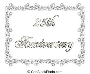 25th Anniversary card - Illustration composition 3D simple...