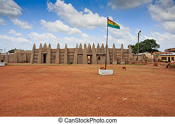 Palace of the Wa Na with Ghana flag, in Wa, Ghana