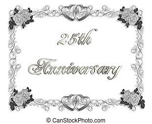 25th Anniversary - Illustration composition 3D simple design...