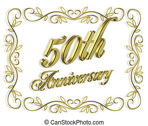 50th Anniversary Golden - Illustration composition 3D design...