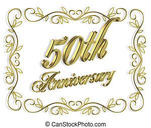 50th, anniversario, dorato
