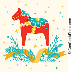 Dala horse decoration card