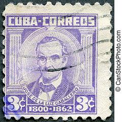 CUBA - 1954: shows Jose de la Luz Caballero (1800-1862) -...