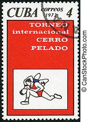 CUBA - CIRCA 1972: A stamp printed in Cuba shows Wrestling,...