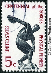USA - CIRCA 1965: A stamp printed in USA shows Discus...