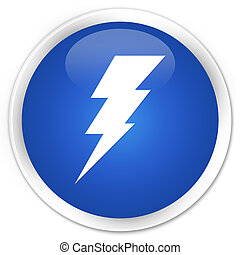 Electricity icon blue button - Electricity icon glossy blue...