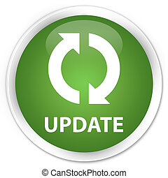 Update icon green button - Update icon glossy green round...